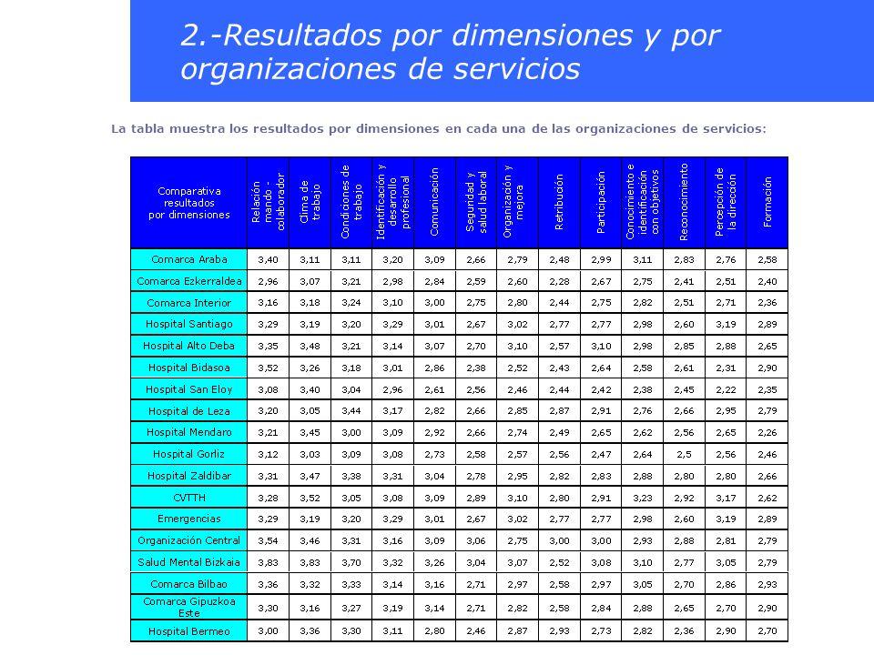 2.-Resultados por dimensiones y por organizaciones de servicios