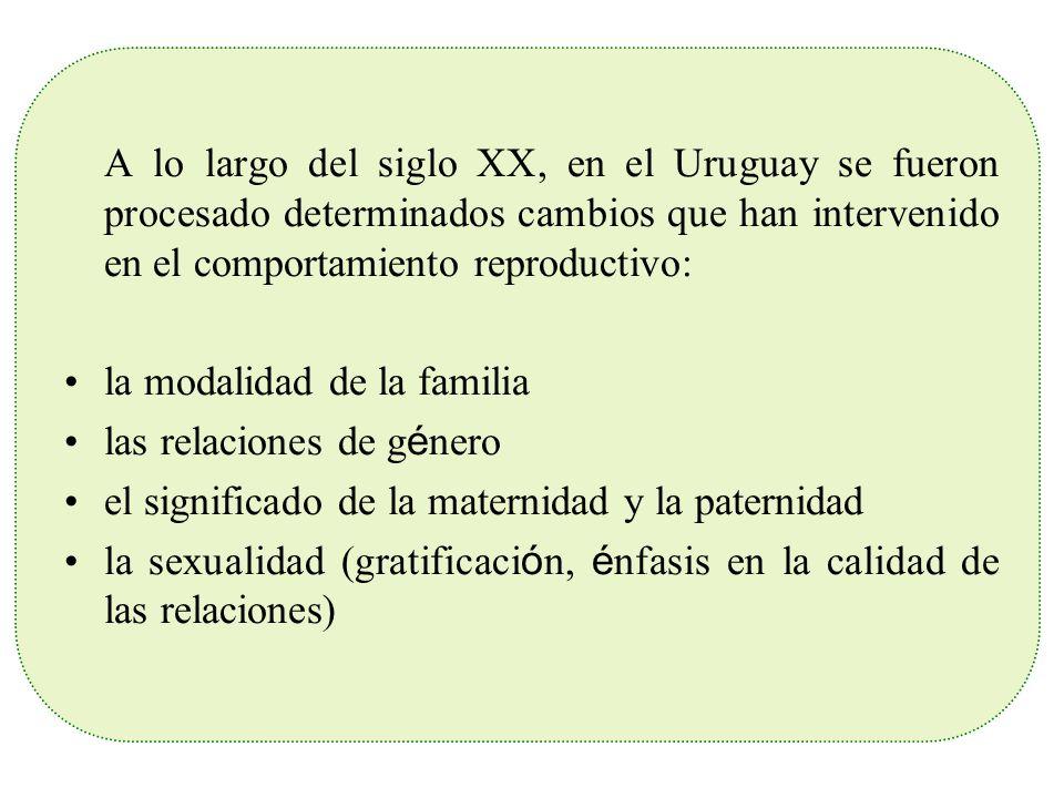 A lo largo del siglo XX, en el Uruguay se fueron procesado determinados cambios que han intervenido en el comportamiento reproductivo: