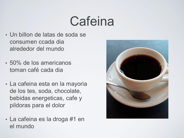 Cafeina Un billon de latas de soda se consumen ccada dia alrededor del mundo. 50% de los americanos toman café cada dia.
