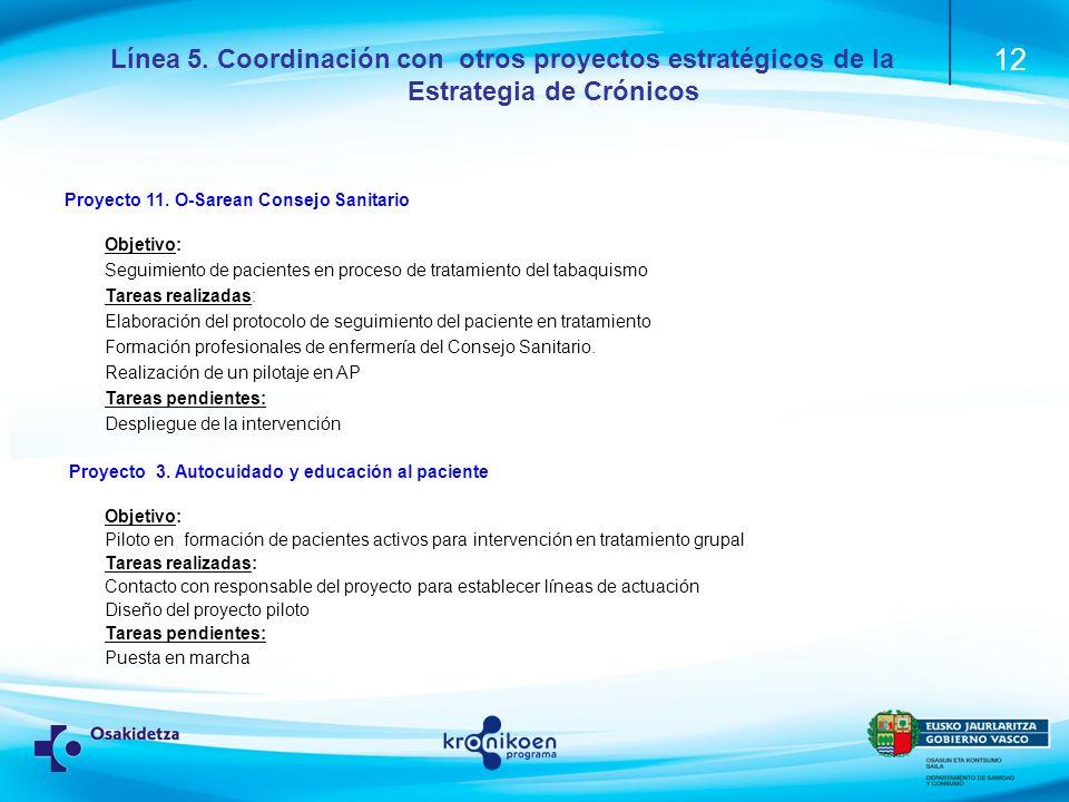 Línea 5. Coordinación con otros proyectos estratégicos de la Estrategia de Crónicos