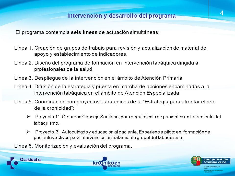 Intervención y desarrollo del programa