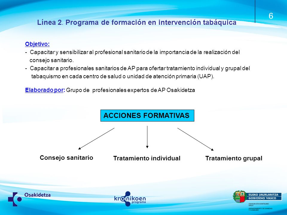 Línea 2. Programa de formación en intervención tabáquica