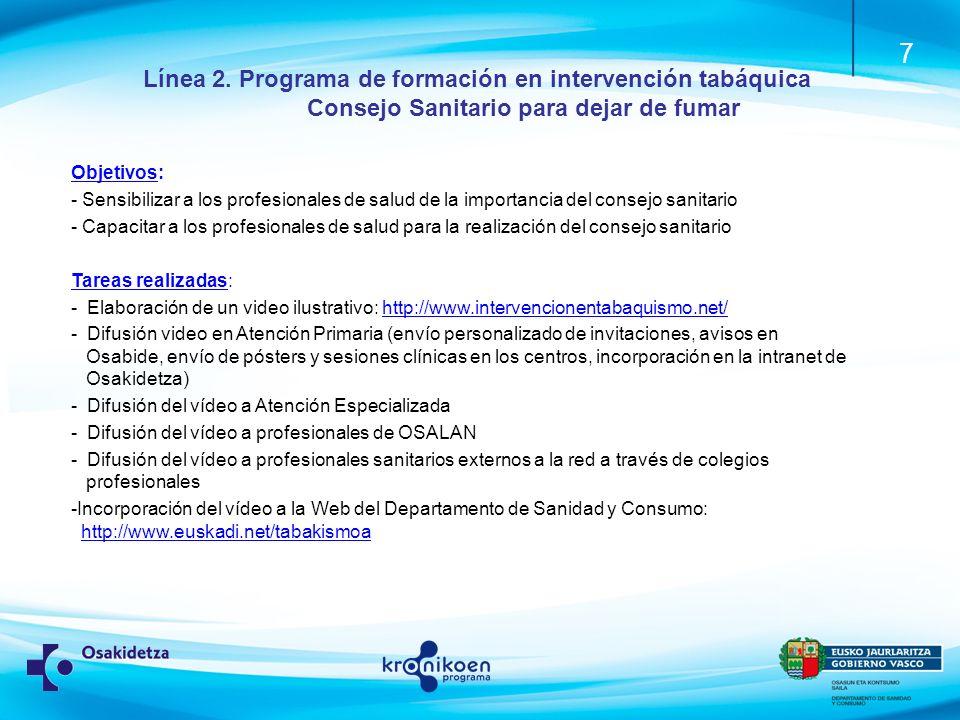 Línea 2. Programa de formación en intervención tabáquica Consejo Sanitario para dejar de fumar