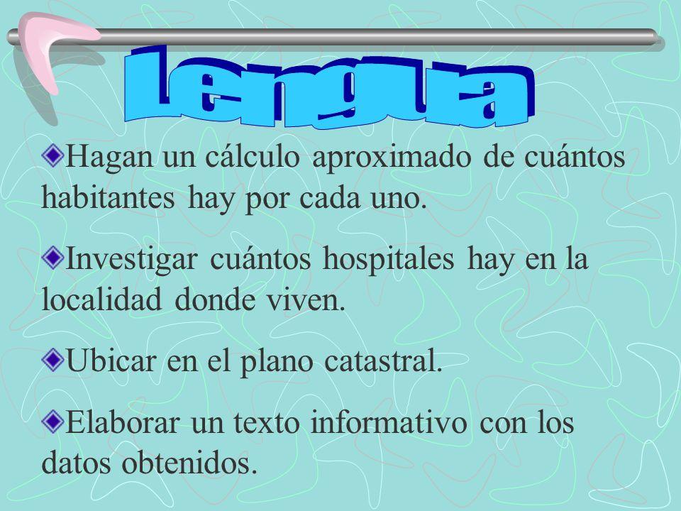Lengua Hagan un cálculo aproximado de cuántos habitantes hay por cada uno. Investigar cuántos hospitales hay en la localidad donde viven.