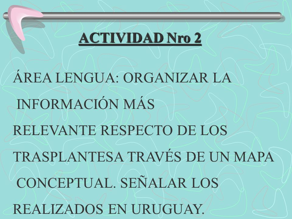 ACTIVIDAD Nro 2 ÁREA LENGUA: ORGANIZAR LA. INFORMACIÓN MÁS. RELEVANTE RESPECTO DE LOS. TRASPLANTESA TRAVÉS DE UN MAPA.