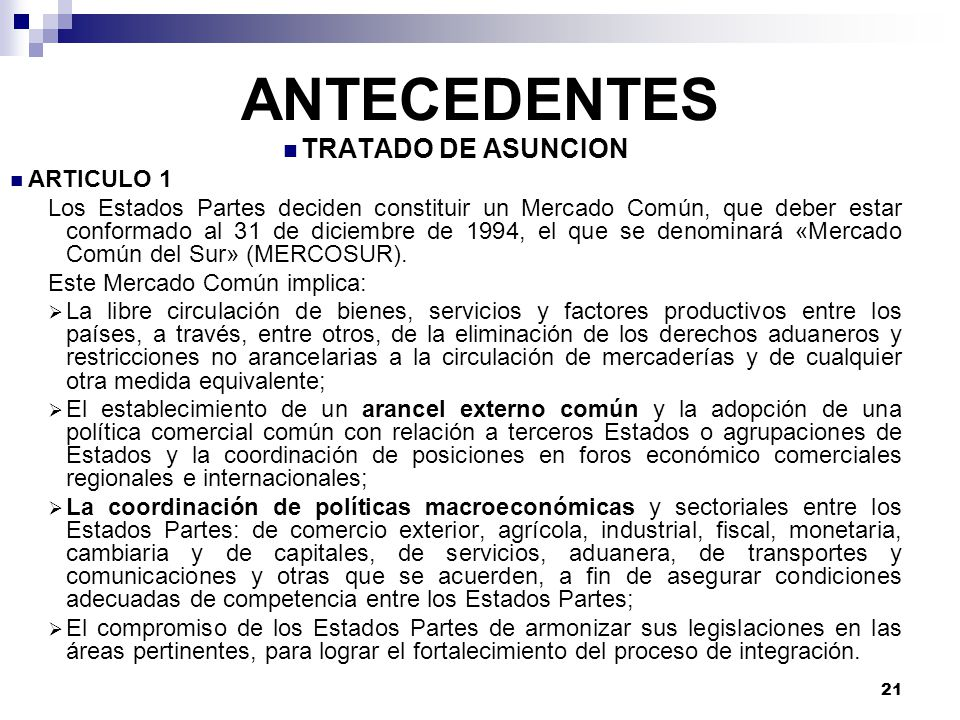 ANTECEDENTES TRATADO DE ASUNCION ARTICULO 1