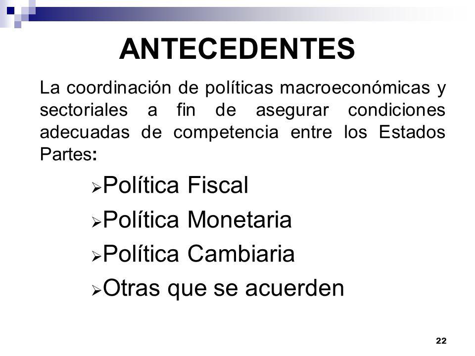 ANTECEDENTES Política Fiscal Política Monetaria Política Cambiaria
