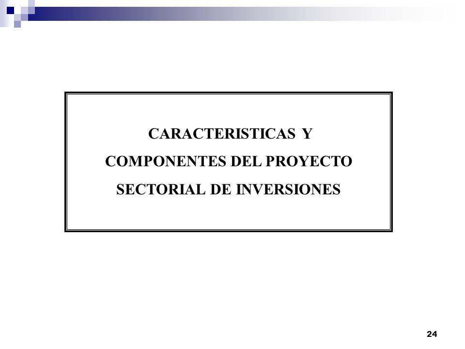 COMPONENTES DEL PROYECTO SECTORIAL DE INVERSIONES