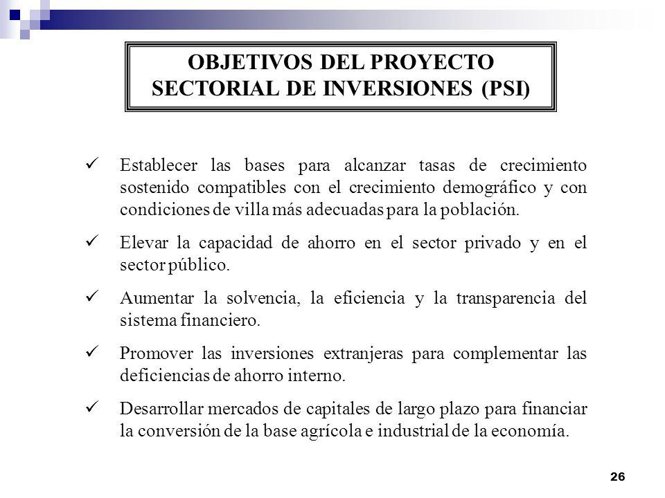 OBJETIVOS DEL PROYECTO SECTORIAL DE INVERSIONES (PSI)