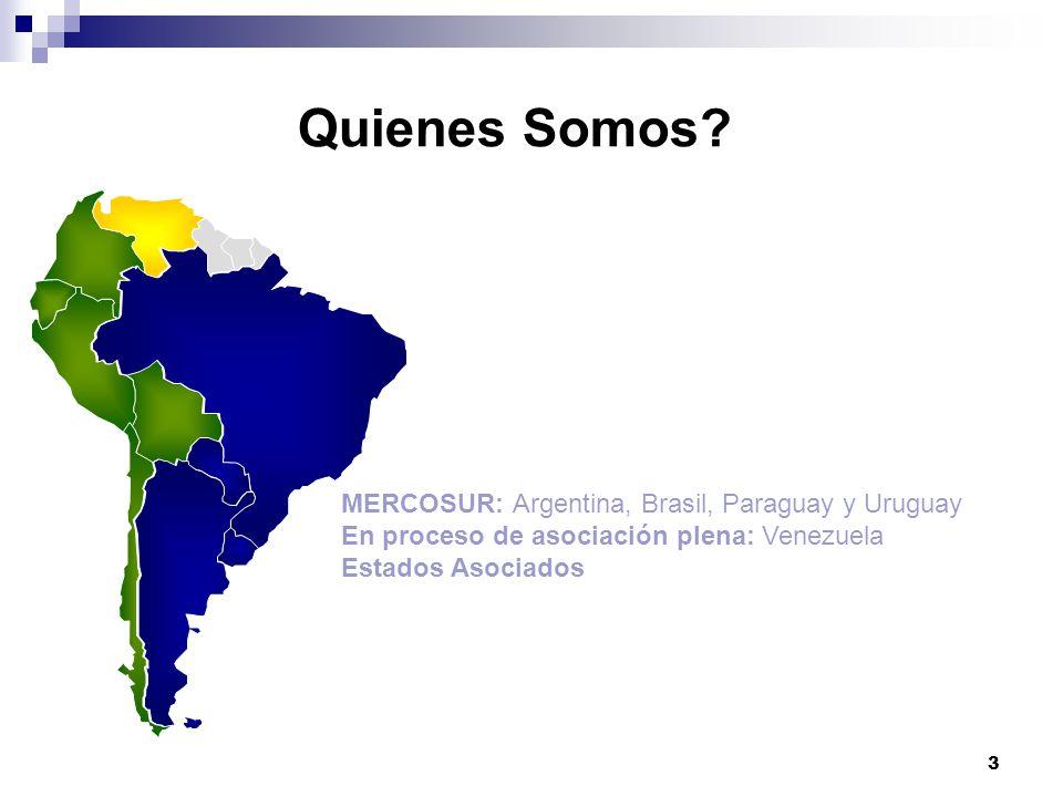 Quienes Somos MERCOSUR: Argentina, Brasil, Paraguay y Uruguay