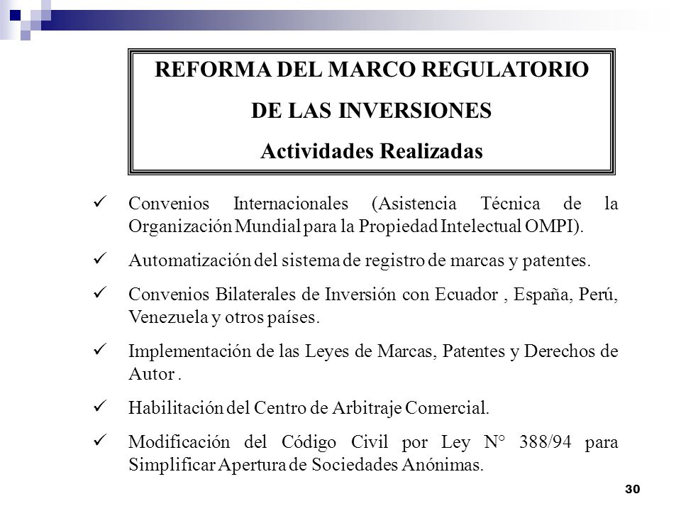 REFORMA DEL MARCO REGULATORIO Actividades Realizadas