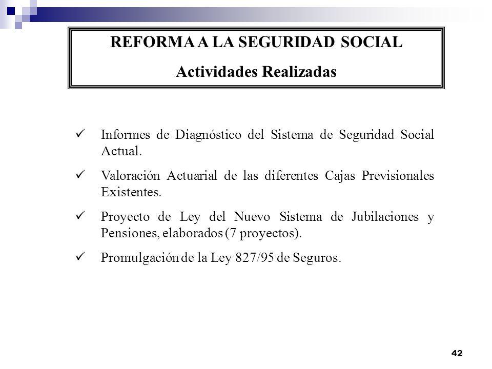 REFORMA A LA SEGURIDAD SOCIAL Actividades Realizadas