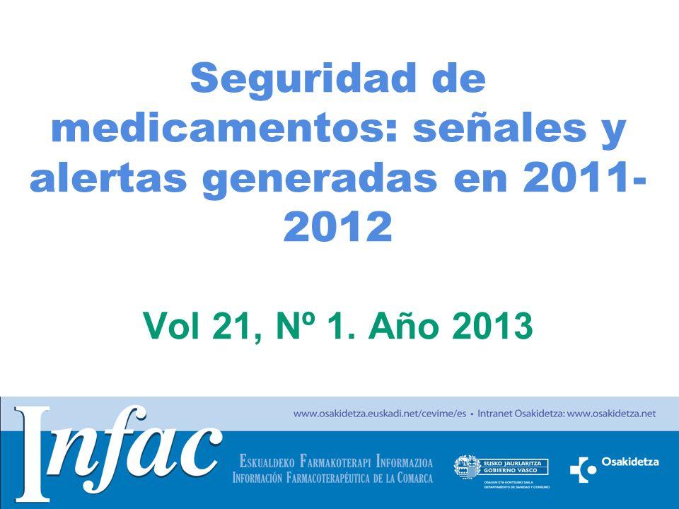 Seguridad de medicamentos: señales y alertas generadas en 2011-2012 Vol 21, Nº 1. Año 2013