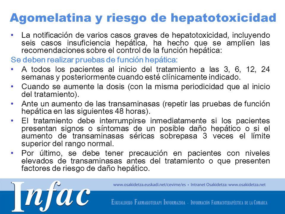 Agomelatina y riesgo de hepatotoxicidad