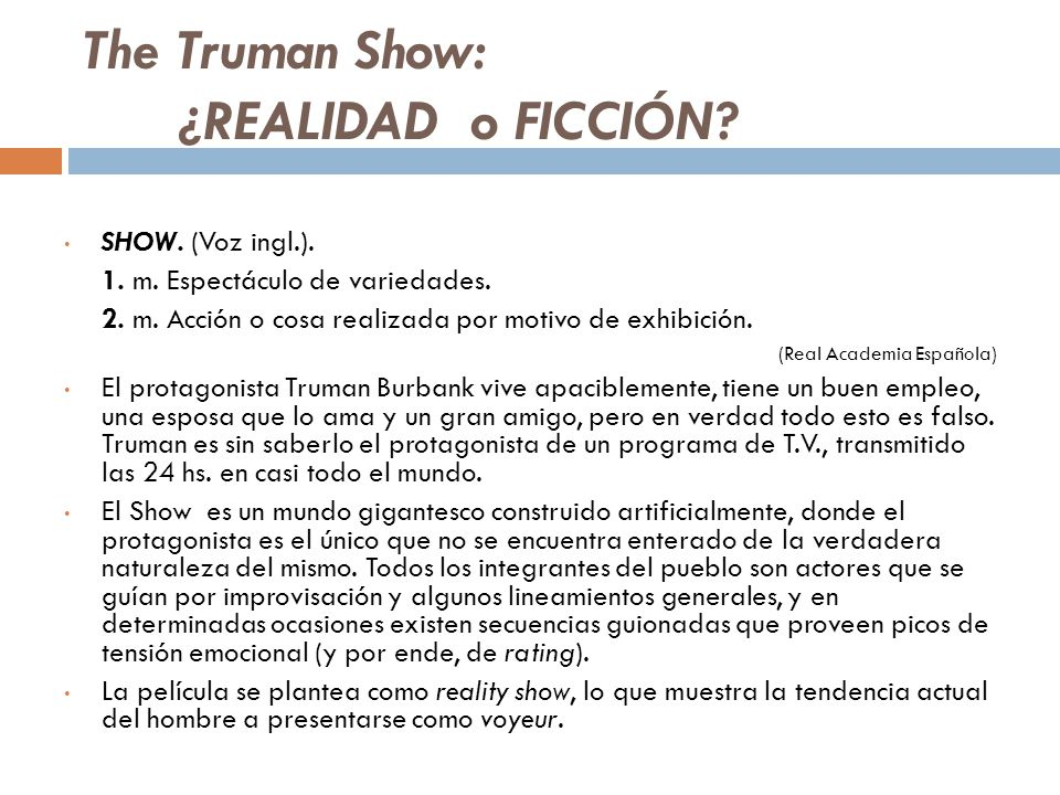 The Truman Show: ¿REALIDAD o FICCIÓN