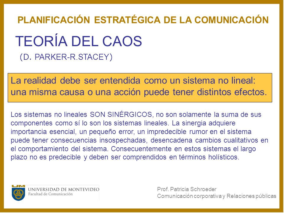 TEORÍA DEL CAOS PLANIFICACIÓN ESTRATÉGICA DE LA COMUNICACIÓN