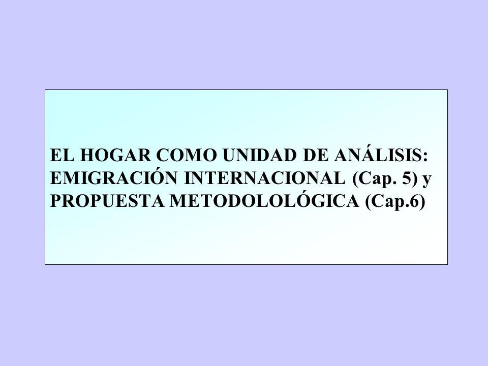 EL HOGAR COMO UNIDAD DE ANÁLISIS: EMIGRACIÓN INTERNACIONAL (Cap