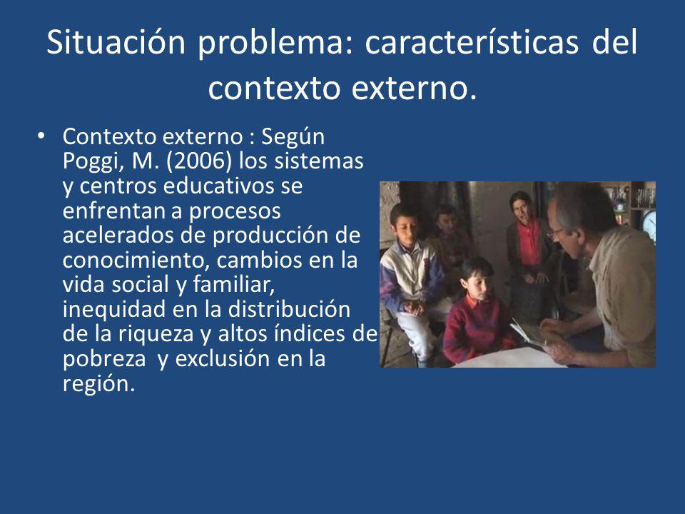 Situación problema: características del contexto externo.