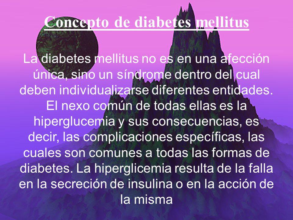 Concepto de diabetes mellitus
