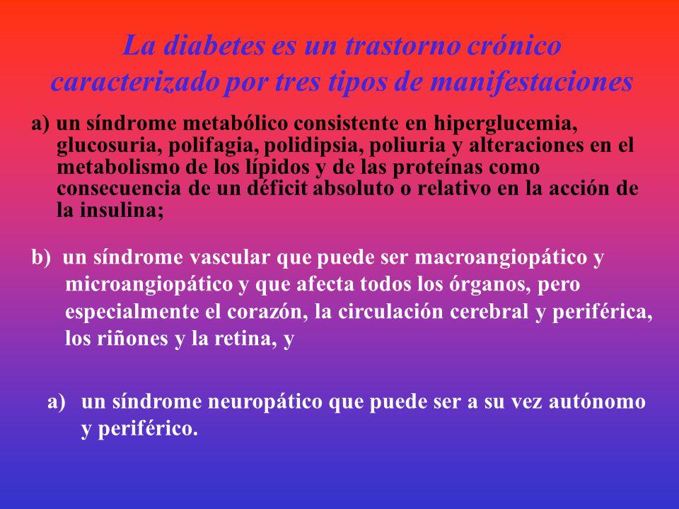 La diabetes es un trastorno crónico caracterizado por tres tipos de manifestaciones