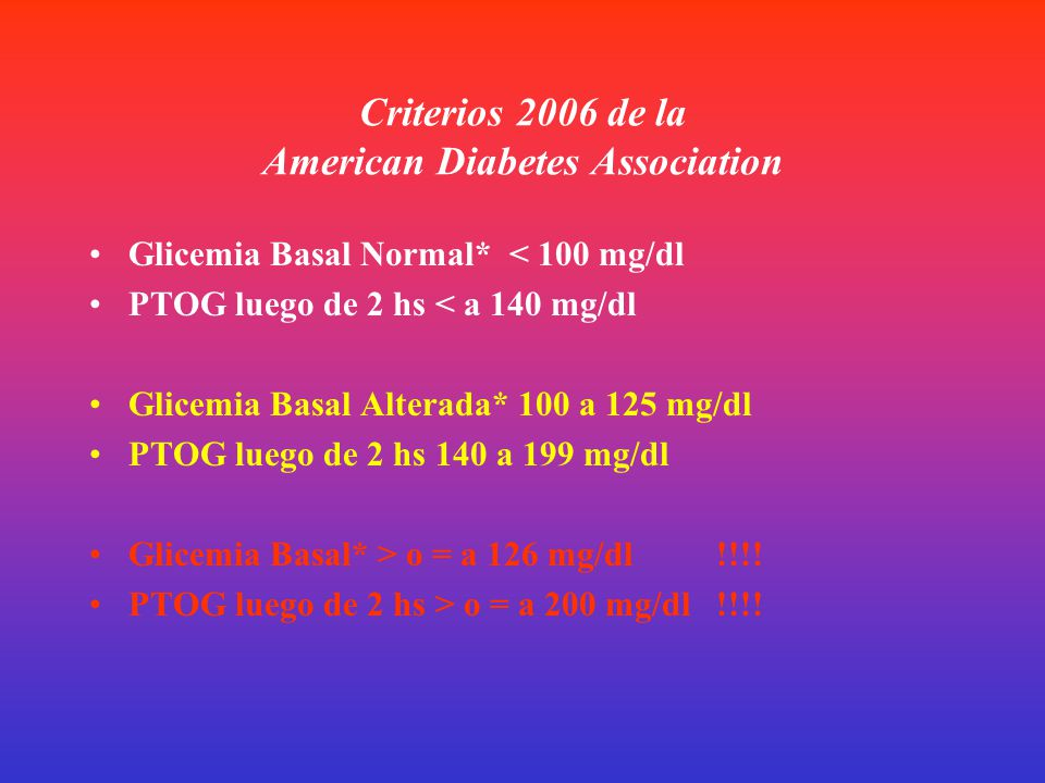 Criterios 2006 de la American Diabetes Association