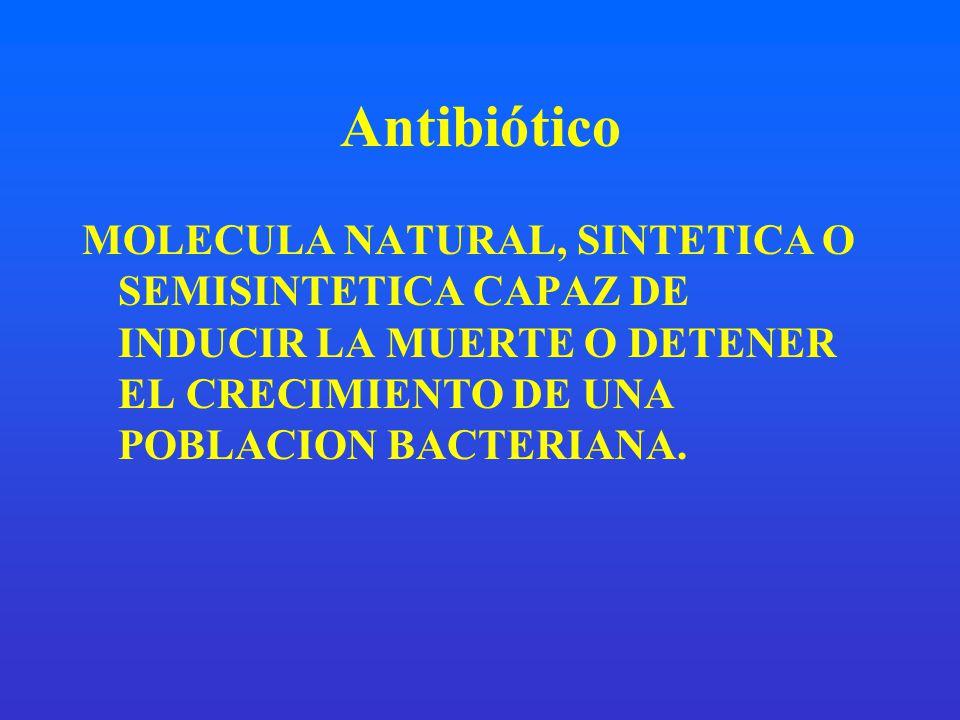 Antibiótico MOLECULA NATURAL, SINTETICA O SEMISINTETICA CAPAZ DE INDUCIR LA MUERTE O DETENER EL CRECIMIENTO DE UNA POBLACION BACTERIANA.