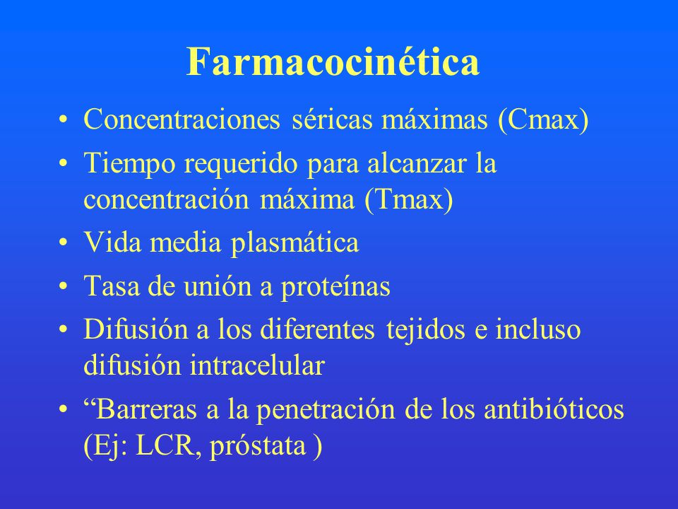 Farmacocinética Concentraciones séricas máximas (Cmax)