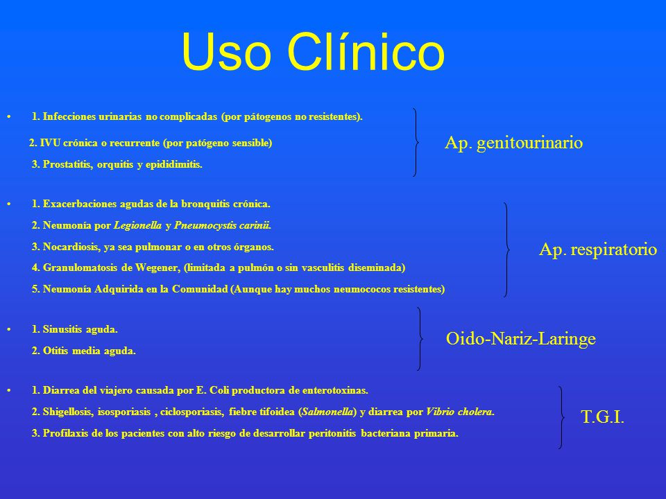 Uso Clínico Ap. genitourinario Ap. respiratorio Oido-Nariz-Laringe