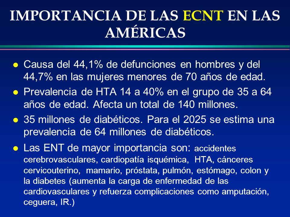 IMPORTANCIA DE LAS ECNT EN LAS AMÉRICAS