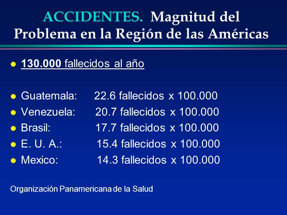 ACCIDENTES. Magnitud del Problema en la Región de las Américas