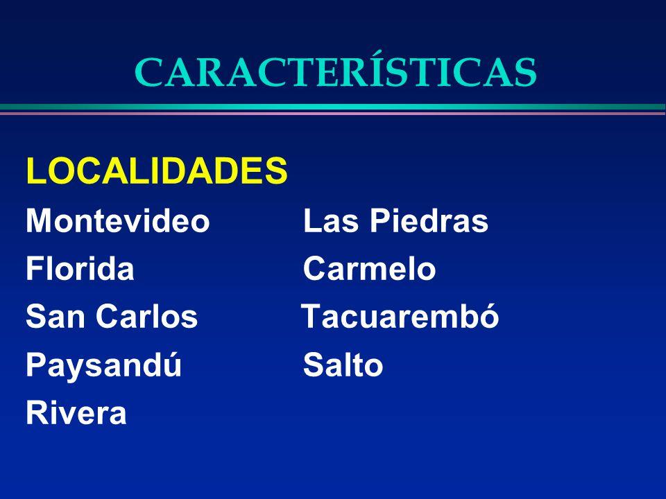 CARACTERÍSTICAS LOCALIDADES Montevideo Las Piedras Florida Carmelo