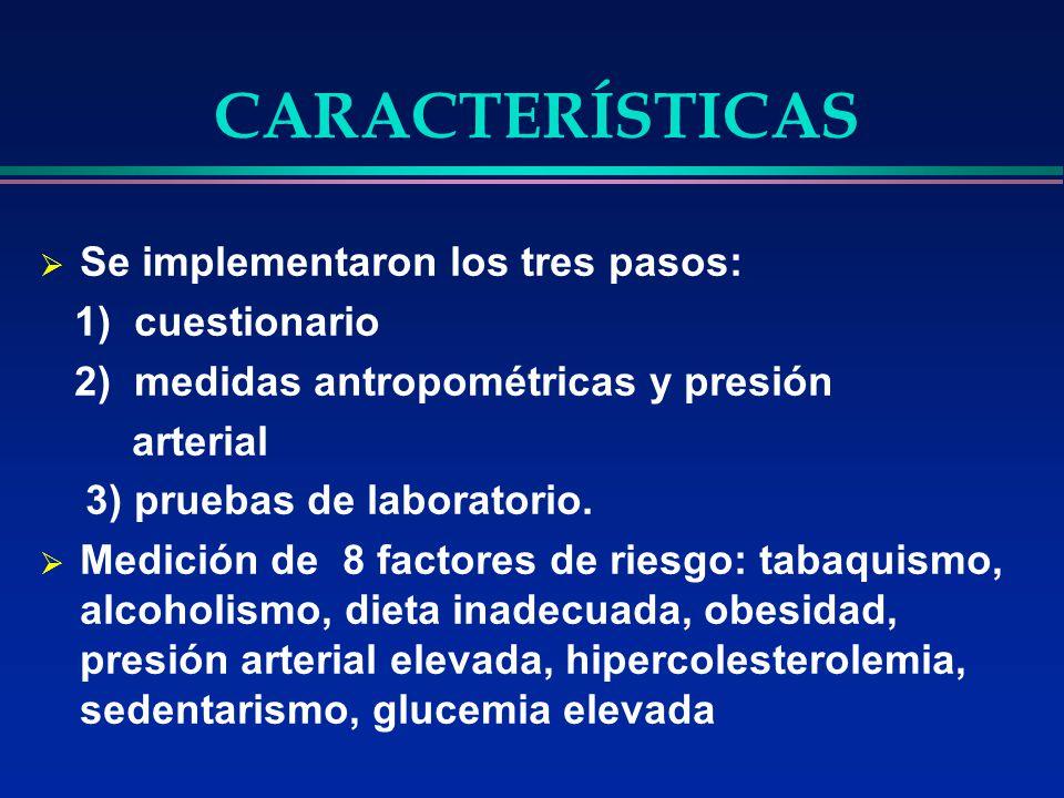 CARACTERÍSTICAS Se implementaron los tres pasos: 1) cuestionario