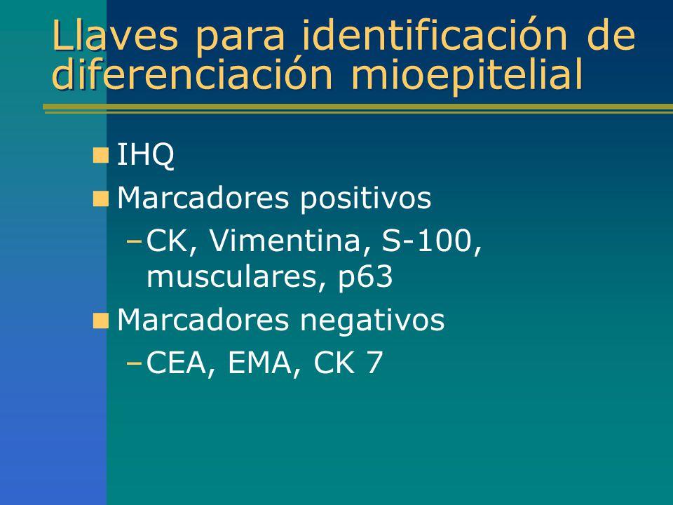 Llaves para identificación de diferenciación mioepitelial