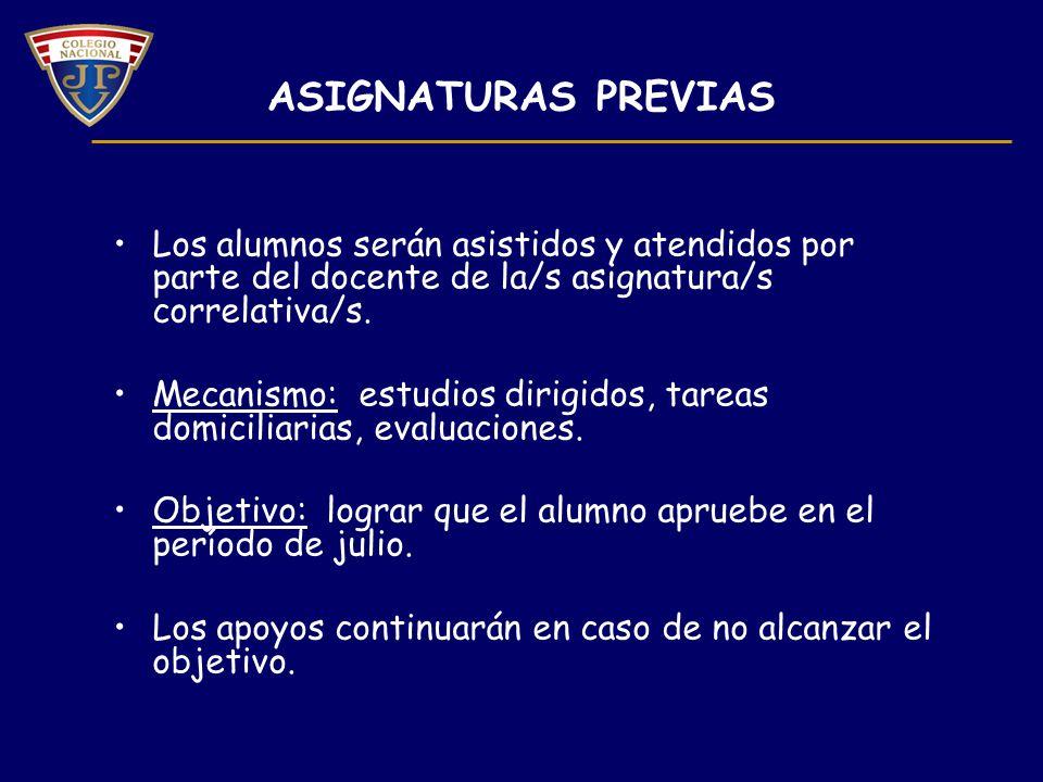 ASIGNATURAS PREVIAS Los alumnos serán asistidos y atendidos por parte del docente de la/s asignatura/s correlativa/s.