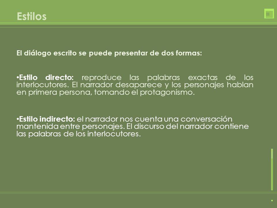 Estilos El diálogo escrito se puede presentar de dos formas: