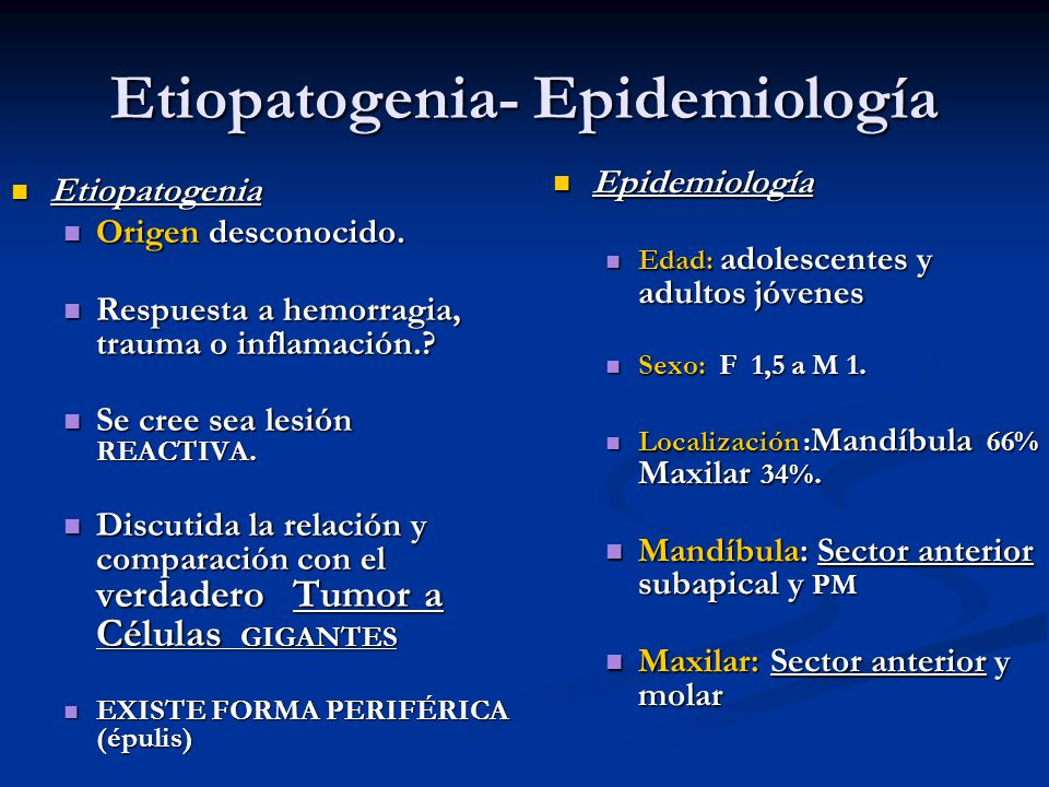 Etiopatogenia- Epidemiología
