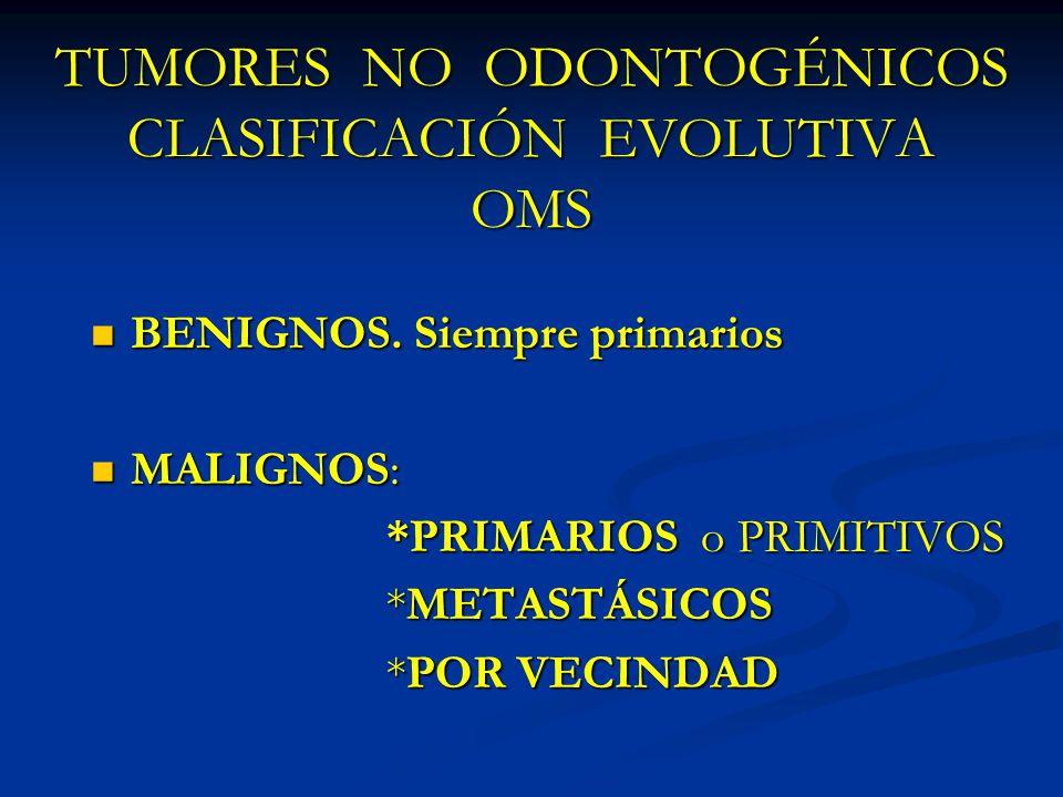 TUMORES NO ODONTOGÉNICOS CLASIFICACIÓN EVOLUTIVA OMS