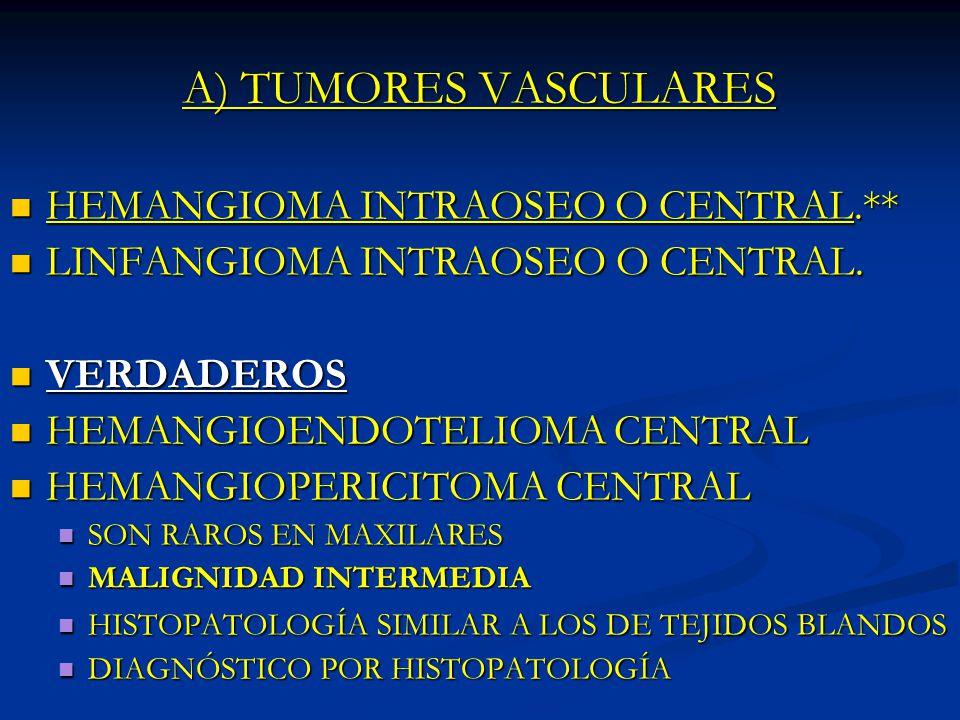 A) TUMORES VASCULARES HEMANGIOMA INTRAOSEO O CENTRAL.**