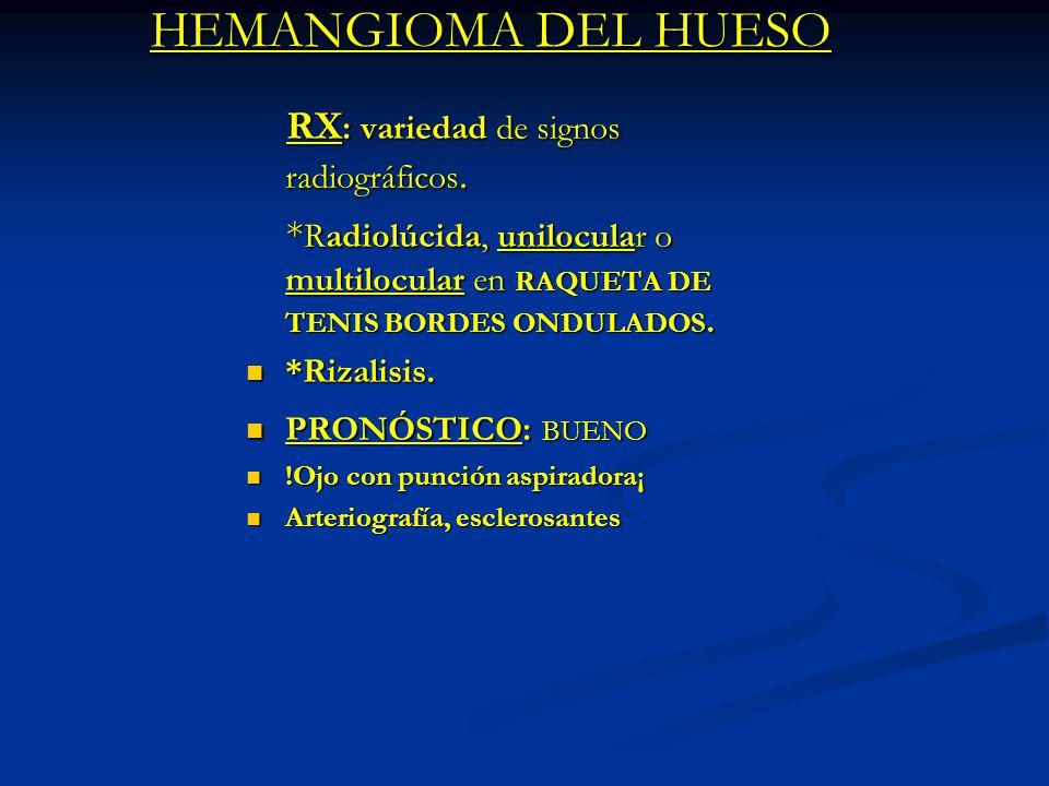 HEMANGIOMA DEL HUESO RX: variedad de signos radiográficos.
