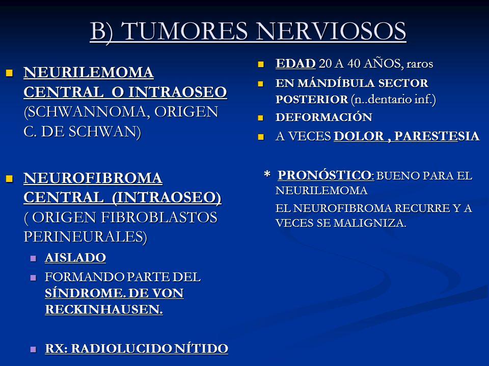 B) TUMORES NERVIOSOS EDAD 20 A 40 AÑOS, raros. EN MÁNDÍBULA SECTOR POSTERIOR (n..dentario inf.) DEFORMACIÓN.