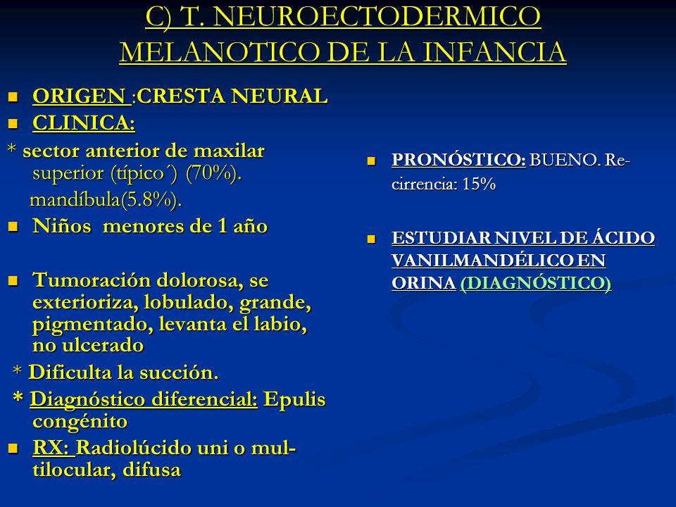 C) T. NEUROECTODERMICO MELANOTICO DE LA INFANCIA
