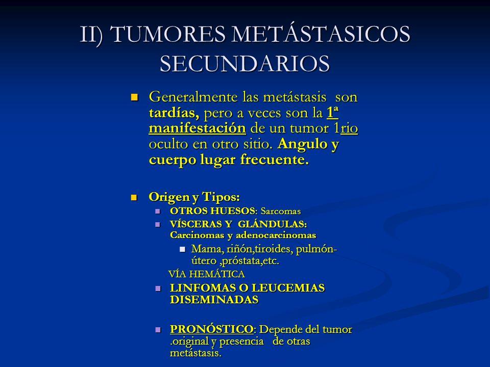 II) TUMORES METÁSTASICOS SECUNDARIOS