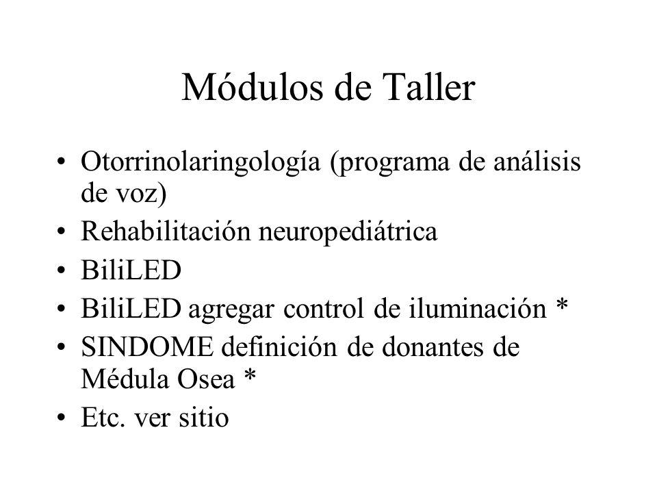 Módulos de Taller Otorrinolaringología (programa de análisis de voz)