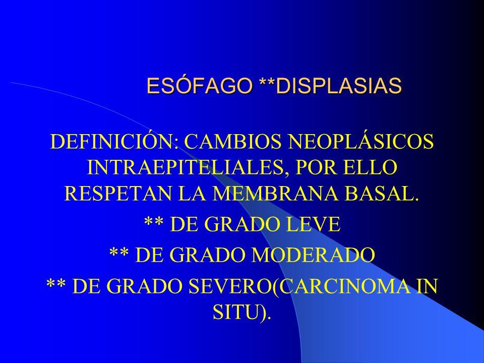** DE GRADO SEVERO(CARCINOMA IN SITU).