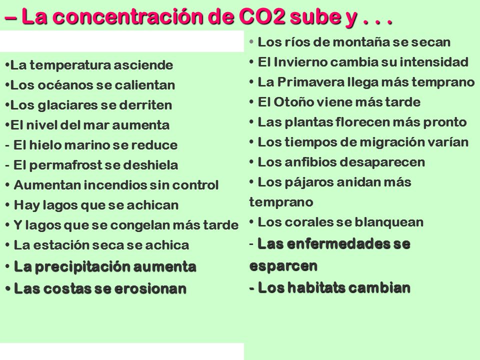 – La concentración de CO2 sube y . . .