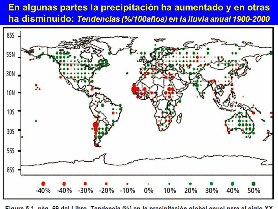 En algunas partes la precipitación ha aumentado y en otras ha disminuido: Tendencias (%/100años) en la lluvia anual 1900-2000