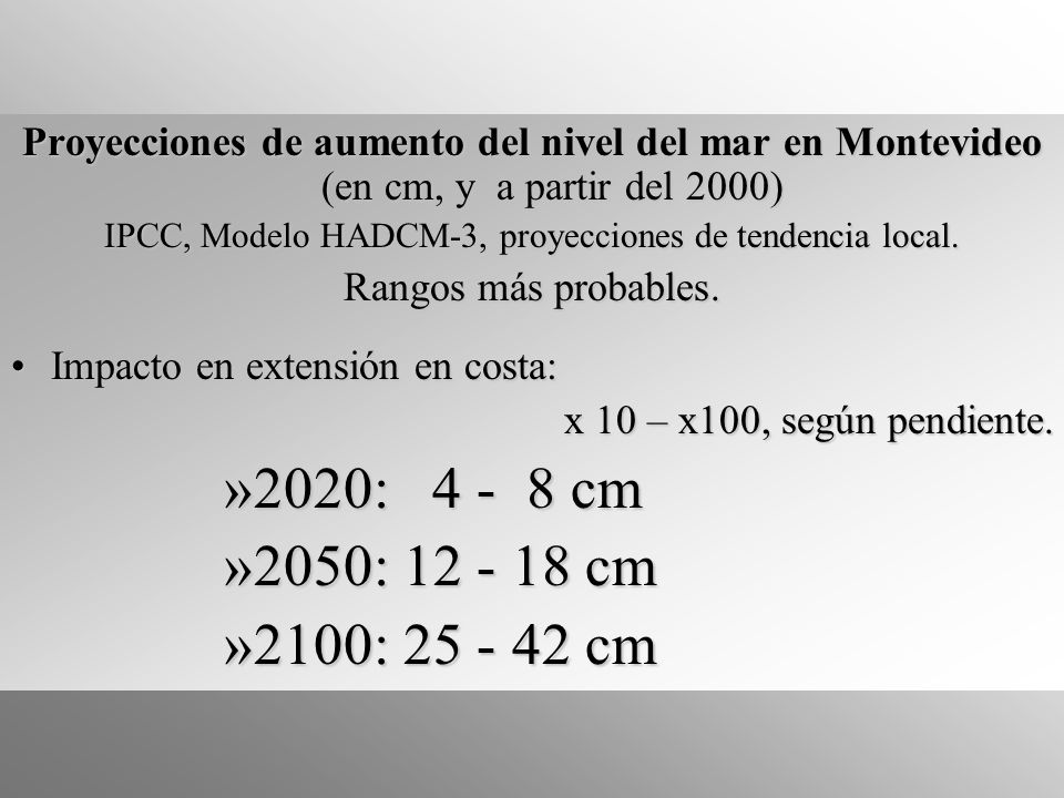 IPCC, Modelo HADCM-3, proyecciones de tendencia local.