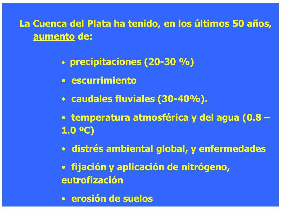 La Cuenca del Plata ha tenido, en los últimos 50 años, aumento de: