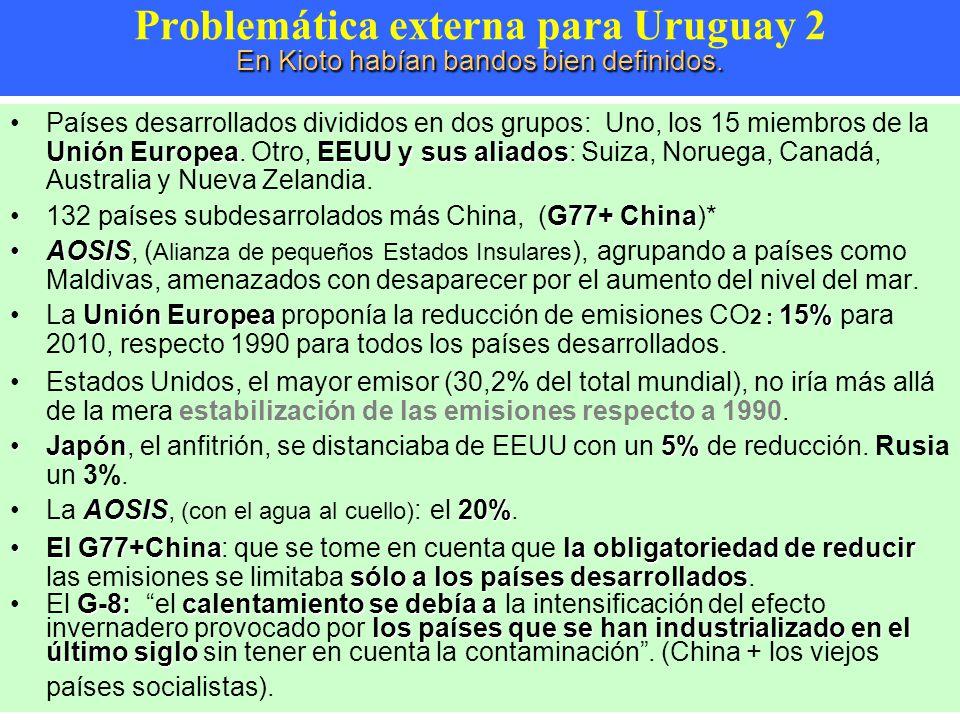 Problemática externa para Uruguay 2 En Kioto habían bandos bien definidos.
