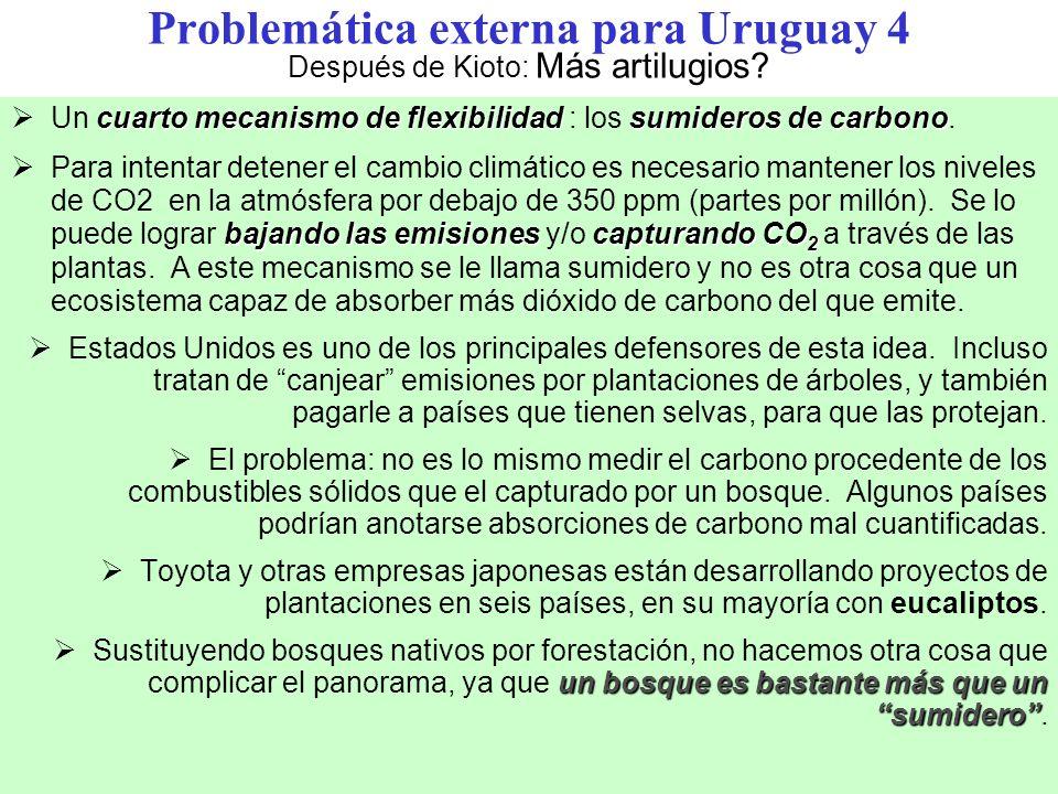 Problemática externa para Uruguay 4 Después de Kioto: Más artilugios
